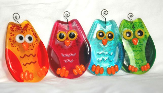 Gorgeous Fused Glass Owl