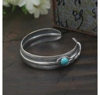 Sterling Silver Turquoise Feather Cuff Bracelet