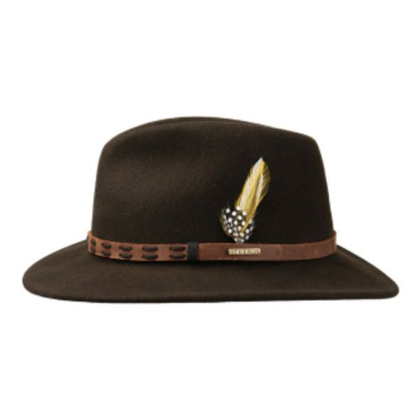 Brown Felt Fedora Hat With Leather Trim ($185) ❤ liked on Polyvore featuring men's fashion, men's accessories, men's hats, mens wool felt fedora hats, mens brown fedora hat, mens fedora hats and mens felt hat
