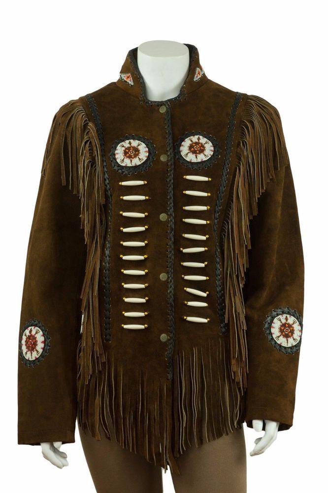 Western Womens Beige Suede Leather Jacket Ladies Fringed /& Beads Outwear Coat