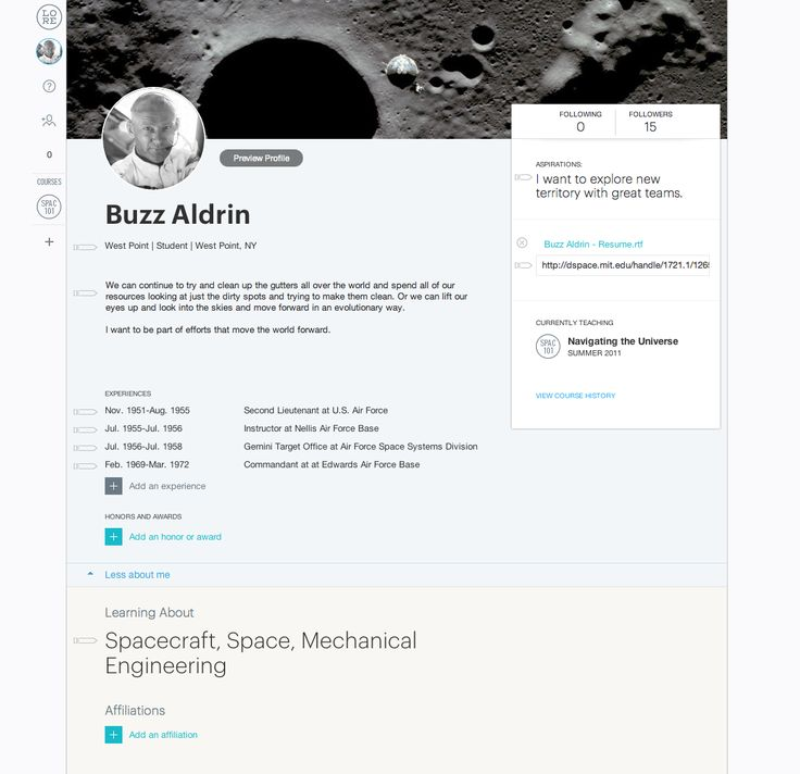 Profile Page from Lore   PatternTap   ZURB Library
