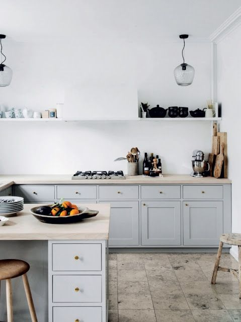 simple kitchen, clean, pale blue shaker cabinets