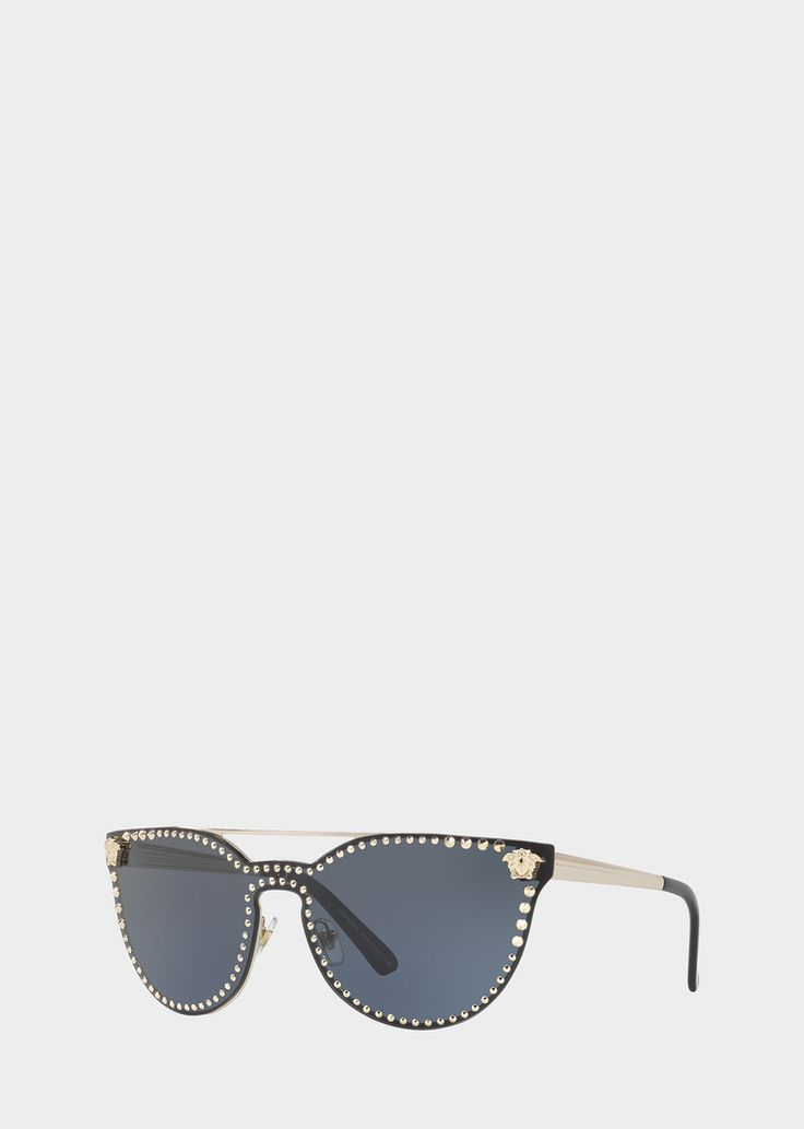 Versace Black Mirror Stud Sunglasses for Women | US Online Store. Black Mirror Stud Sunglasses from Versace Women's Collection. Full rim cat-eye sunglassses with blue lense featuring small gold Medusa Head accents and small gold studs, gold temples and black tips.