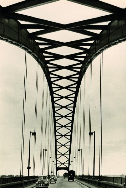 adanvc:  Rhine Bridge between Duisburg and Rheinhausen, Germany, 1940-1950s.  by Paul Wolff and Alfred Tritschler