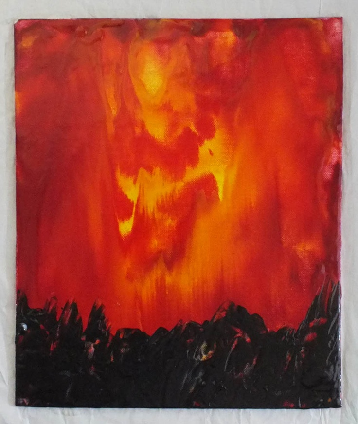 Fire Storm - Encaustic picture on canvas board