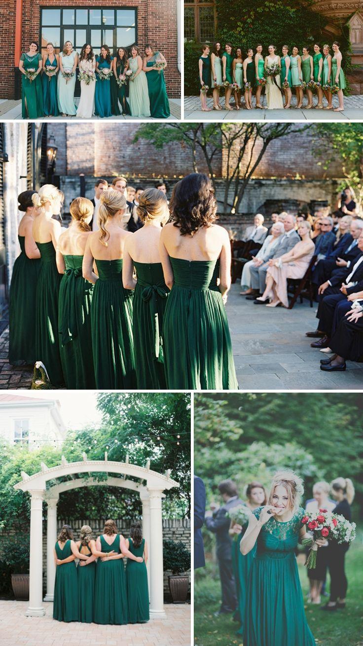 Les demoiselles d'honneur en vert