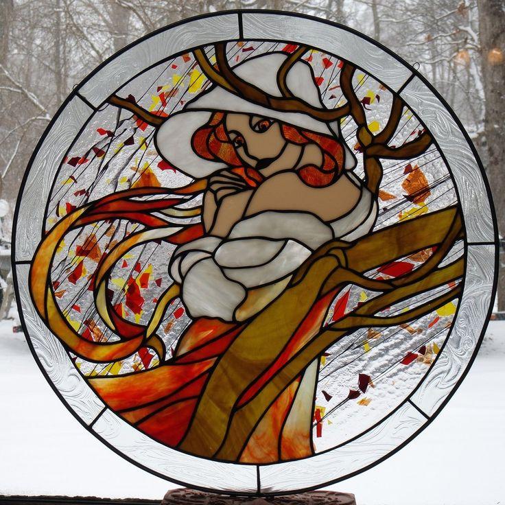"Alphonse Mucha 11 November 24"" Stained Glass Pattern. Artist Ruth Green."