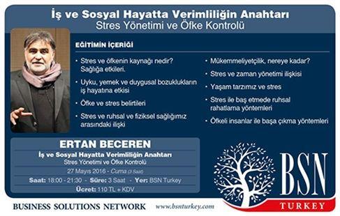 BNS TURKEY 'den Stres Yönetimi ve Öfke Kontrolü Eğitimi 130 TL Yerine 95 TL