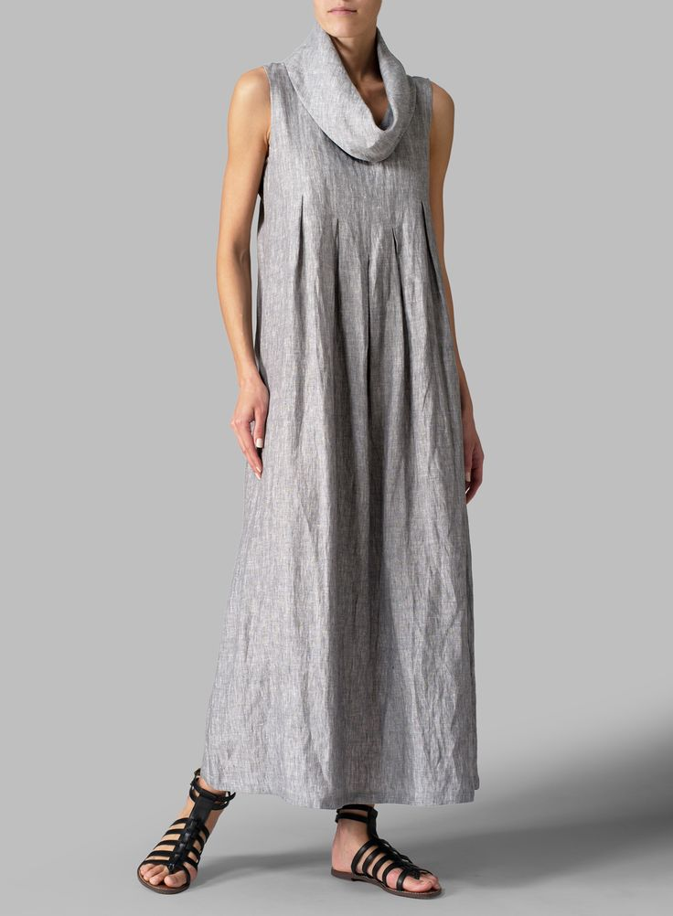 Linen Sleeveless Cowl Neck Long Dress