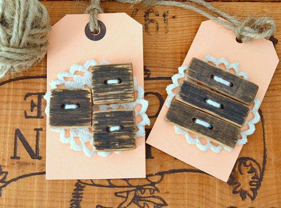 Set of Three 3 Handmade Rectangle Oak Wooden Buttons