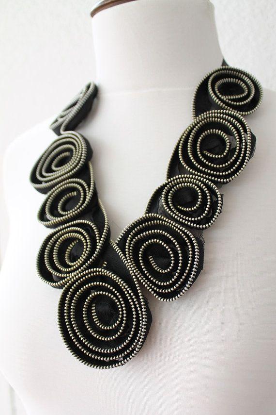 Bavaglino+nero+della+chiusura+lampo+collana+di+di+SeaAsparagus