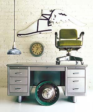 We are selling one of these desks but looking at this makes me want to keep it!  Classic Steel Tanker Desk: Remodelista