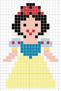 Luvs 2 Knit: Snow White Disney Princess perler beads pattern
