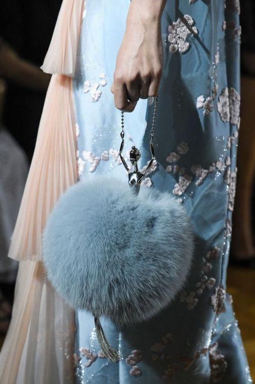 Ulyana Sergeenko 2015 major puffball oriental patterned blue dress