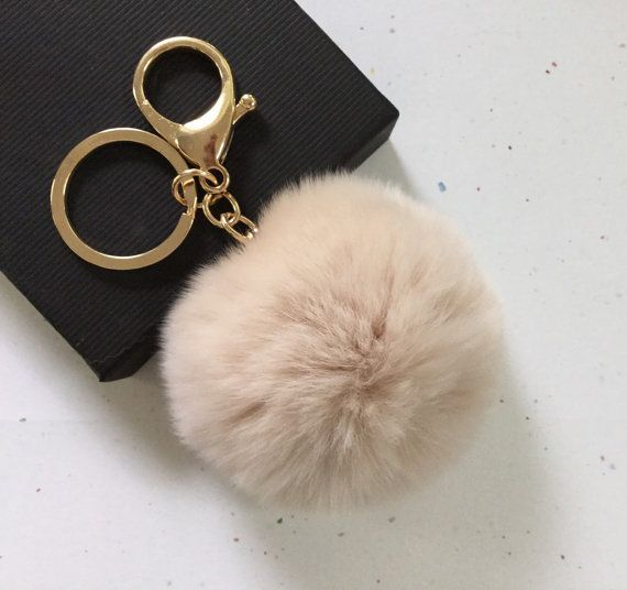 New! Cream Fur pom pom keychain fur ball bag pendant charm ...