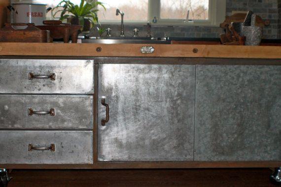 Industrial kitchen island  Galvanized with butcher by vintagewall, $4200.00