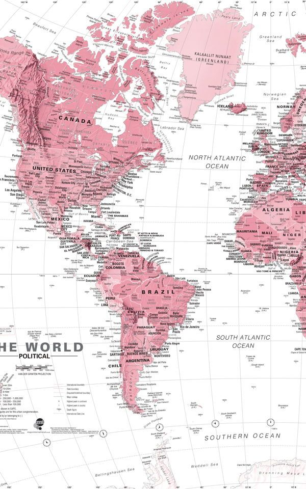 Pink and white world map painted wallpaper