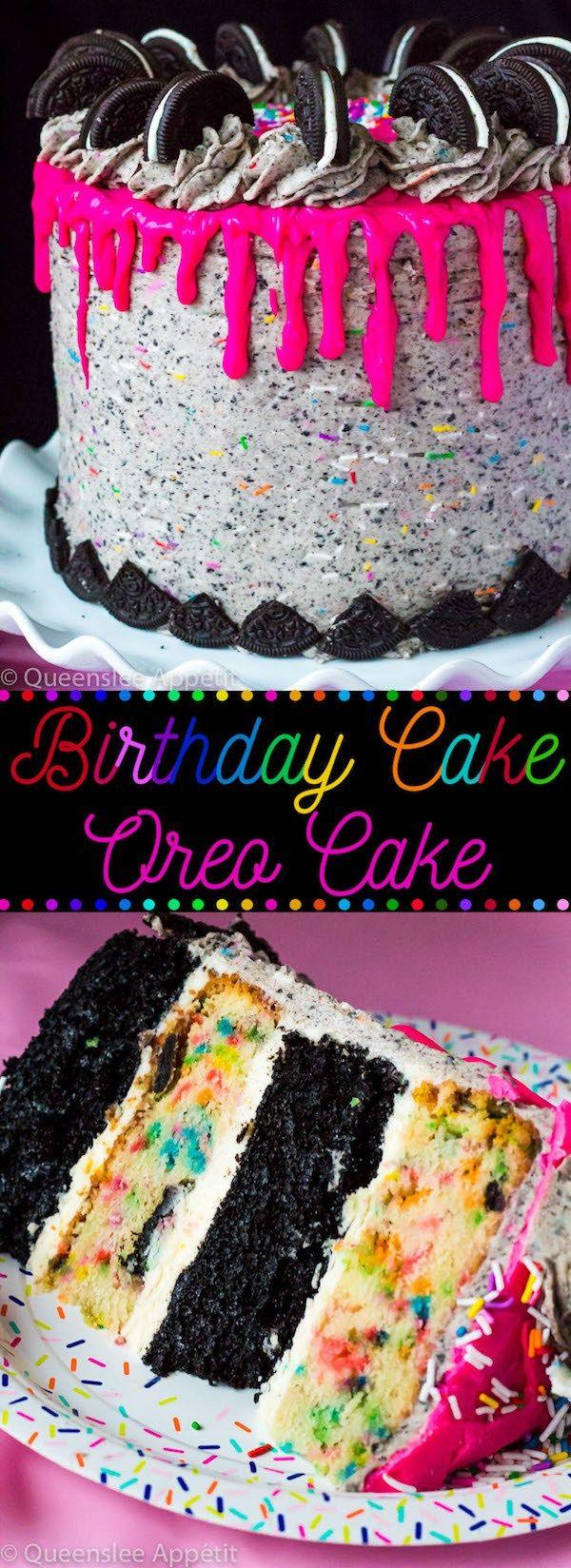 This Birthday Cake Oreo Cake just screams PARTY! Layers of dark chocolate and Fu…