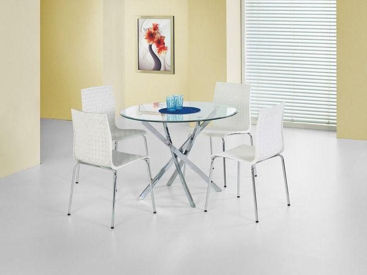 Stół Raymond to stół szklany, świetny do nowoczesnego pokoju dziennego lub do jadalni. Stół posiada ozdobny stelaż ze stali chromowanej, natomiast blat jest ze szkła w kolorze bezbarwnym.