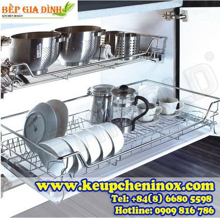 Kệ úp chén inox tủ bếp dưới Higold dạng song – 301601