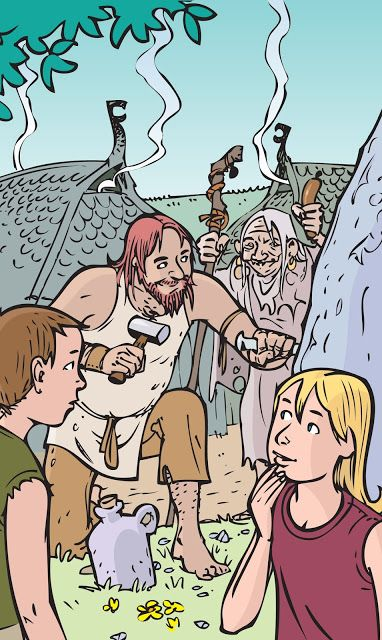 Illustration for Rune T. Kidde's story about viking king Harald Blaatand.