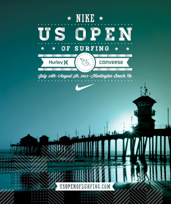 US Open of Surf: Wall Colors, Posters Design, Graphics Design, Nike Surfing, Surfing Posters, Surfing 2012, Huntington Beaches, Design Elements, Design Studios
