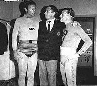 Adam West, Bob Kane (Creator Batman) and Frank Gorshin on the set of the Batman TV show in 1966.