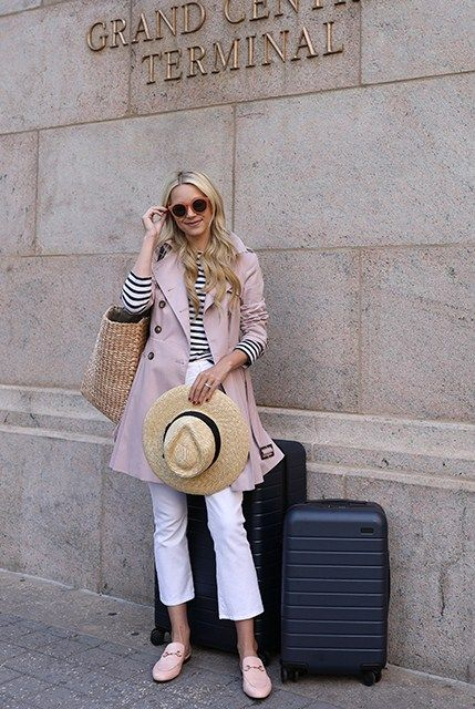 9a1fa8712a3 ... navy   pink (Brixton  joanna  straw hat + ASOS blush trench coat +  striped top + L Agence cropped flare jeans + Gucci  princetown  loafer  mules in light ...