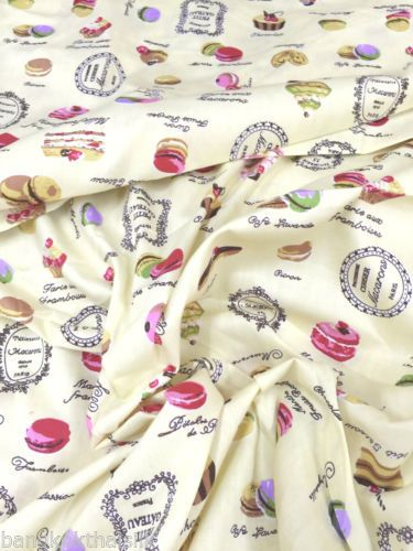 CREAM-CUPCAKES-MACAROON-PRINT-COTTON-FABRIC-TABLECLOTH-BAGS-UPHOLSTER-CRAFT