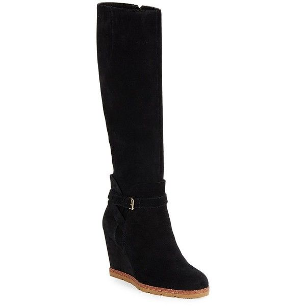 Kate Spade New York Women's Surie Suede Wedge Boots ($180) ❤ liked on Polyvore featuring shoes, boots, ankle boots, black, short black boots, black suede boots, wedge boots and black wedge boots