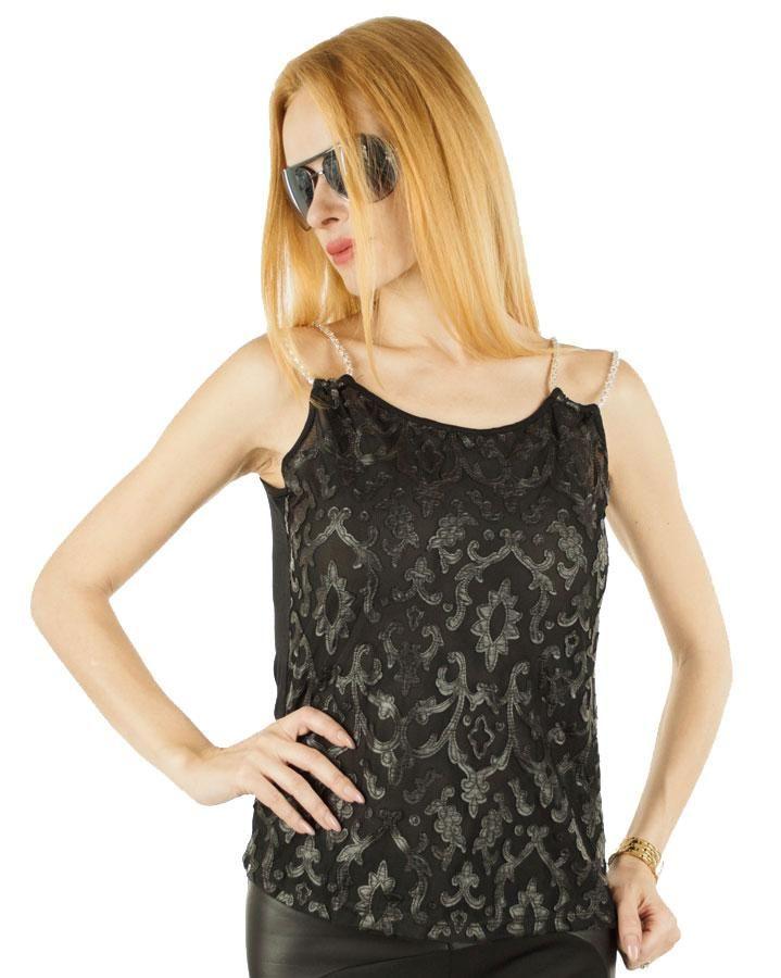 Tricou Dama Elegant Look  -Tricou dama  -Design interesant ce va va scoate din anonimat  -Detaliu bretele aurii  -Croi lejer     Compozitie: 95%Vascoza, 5%Elasten