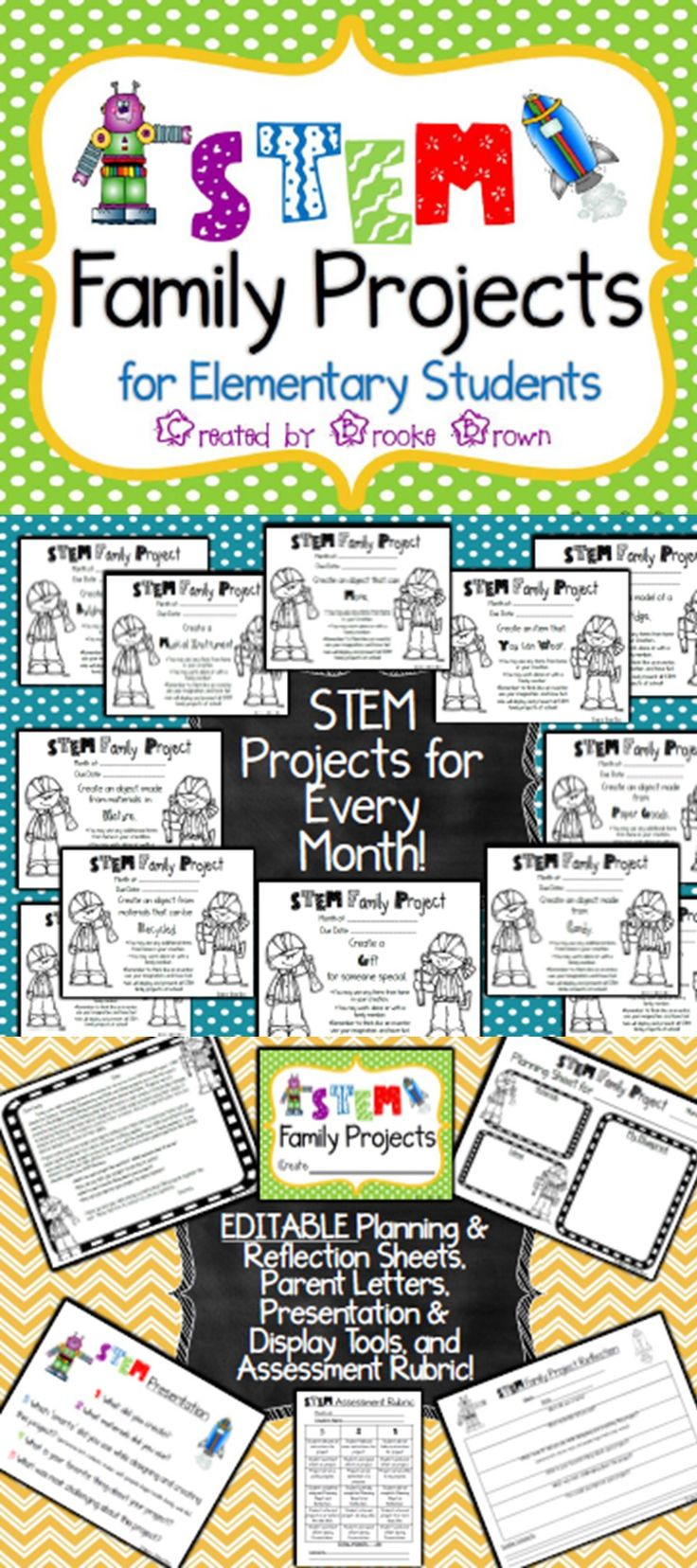 Brand new STEM Family Projects for elementary students! Monthly instructions, planning and reflection sheets, assessment and presentation tools and MORE!