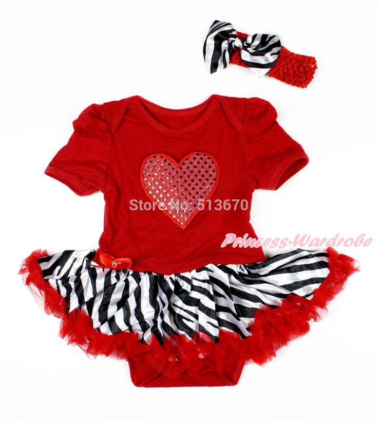 >> Click to Buy << Valentine Hot Red Bodysuit Jumpsuit Red Sparkle Heart Zebra Baby Dress NB-12M MAJSA0162 #Affiliate
