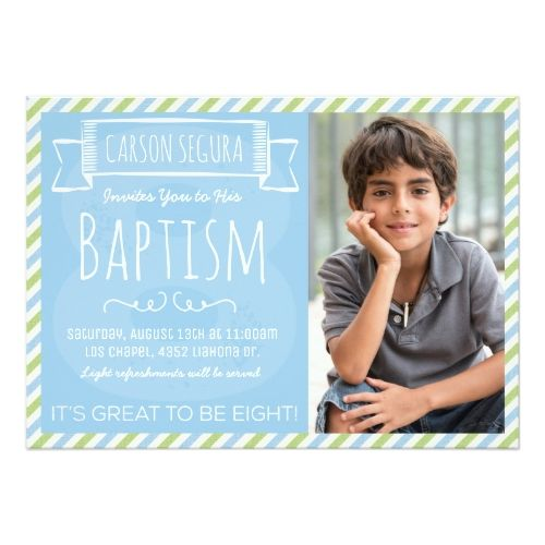124 best baptism invitations images on pinterest christening baptism invitations blue and green stripes lds baptism announcement stopboris Images