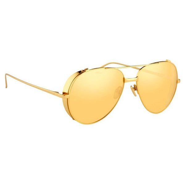 Linda Farrow LFL426 C1 Sunglasses (1,280 CAD) ❤ liked on Polyvore featuring men's fashion, men's accessories, men's eyewear, men's sunglasses, gold, mens sunglasses, linda farrow mens sunglasses, mens aviator sunglasses, mens aviators and mens eyewear