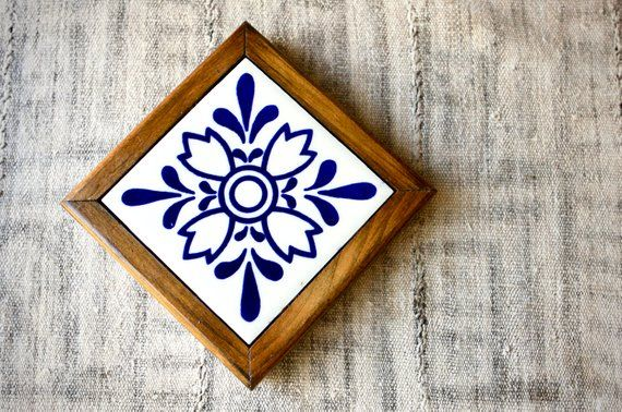 Mexican Tile Ceramic Trivet In Blue and White with Floral ...