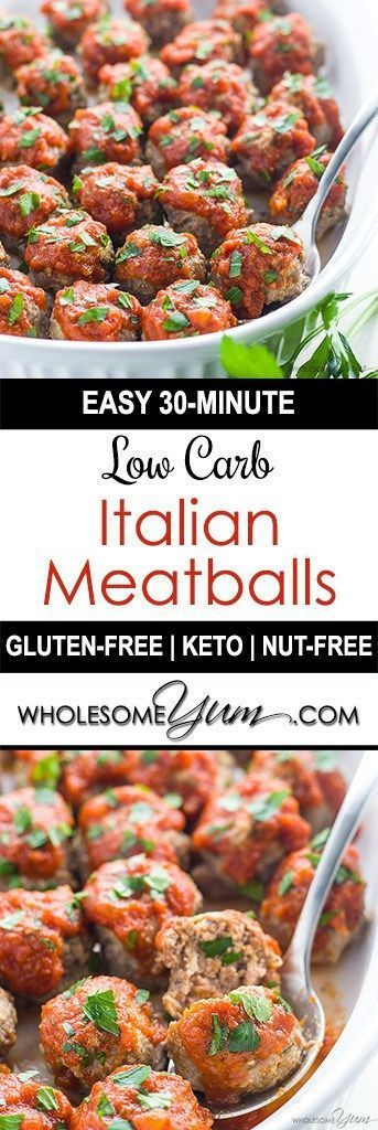 Low Carb Meatballs – Italian Style (Keto, Gluten-free, Nut-free) - This Italian-style gluten-free low carb meatballs recipe is so easy - just 30 minutes to make! They are keto, nut-free & make a perfect dinner or appetizer.