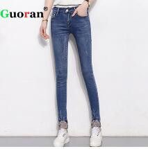 {Guoran} High Stretch Women's Jeans Pencil Pants Plus Size 26-32 Ladies Slim Jeans Leggings Femme Pantalon Fashion Trousers Blue