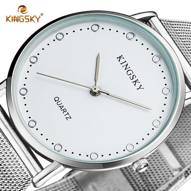 KINGSKY Luxury Brand Silver Men Women Watches Mesh Stainless Steel Simple Quartz Wrist Watch Unisex Clock Relogio Masculino