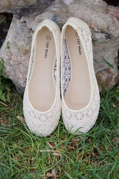 Lucy Lace Flats Ivory CLEARANCE - Modern Vintage Boutique from Modern Vintage Boutique. Saved to Fashion 🎀👗👠.