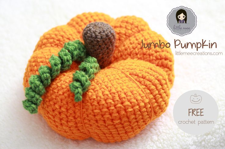 "Jumbo Pumpkin - free crochet pattern from Little Mee Creations. 9.5"" wide x 6.5"" in height."