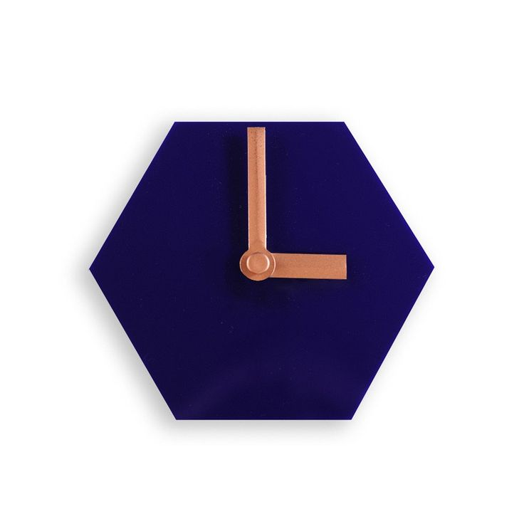 Amindy - GEO Hexagon Desk Clock - Navy Blue with Bronze Hands - $49 - Shop online at www.amindy.com.au