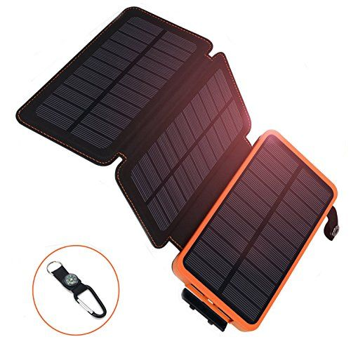 AZOT 12000mAh Solar Charger Power Bank Waterproof Portable External Battery Backup with Dual USB for Android iPad iPhone Cellphones, LED Flashlight with Compass for Emergency (Orange(2 Panels)) - AZOT solar power,the best choice for your outdoor activities .Large Capacity, Three Premium Solar Panels, Best Choice for Hungry Devices.12000mAh high capacity, can charge an iPhone 6 , iPhone 5s ,Galaxy s5 ,iPad mini and many more , Solar Charge Technology, the item c...
