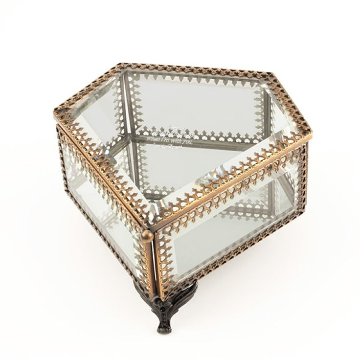 Glass Pentagon Trinket Box - This footed glass trinket box is in the shape of a pentagon and very unique. The lid and sides are clear glass and the bottom is mirrored. The lid is hinged and has a chain to keep it from falling backward. Add a personal message to make it a one of a kind gift!