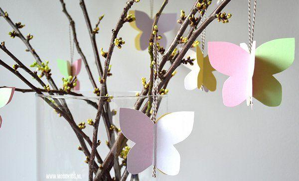 vlinders in een vaas