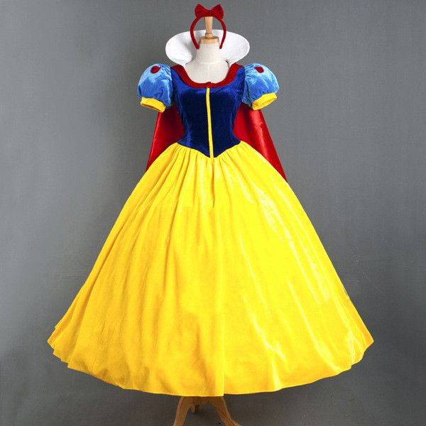 Vocole XS-XXL Adult Deluxe Snow White Costume Fairytale Snow Princess Cosplay Fancy Dress Halloween Party Gown