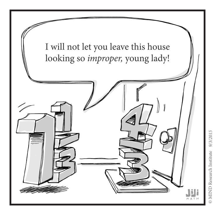 This funny math cartoon from Off the Number Line questions why we consider improper fractions a negative thing.
