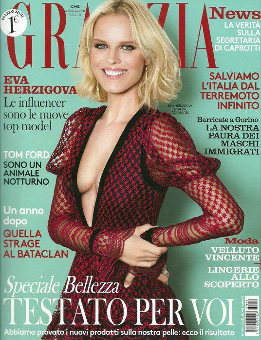 Top Model Eva Herzigova on Grazia Italia cover, photo by Julian Hargreaves, hair by Massimo Serini, November 2016