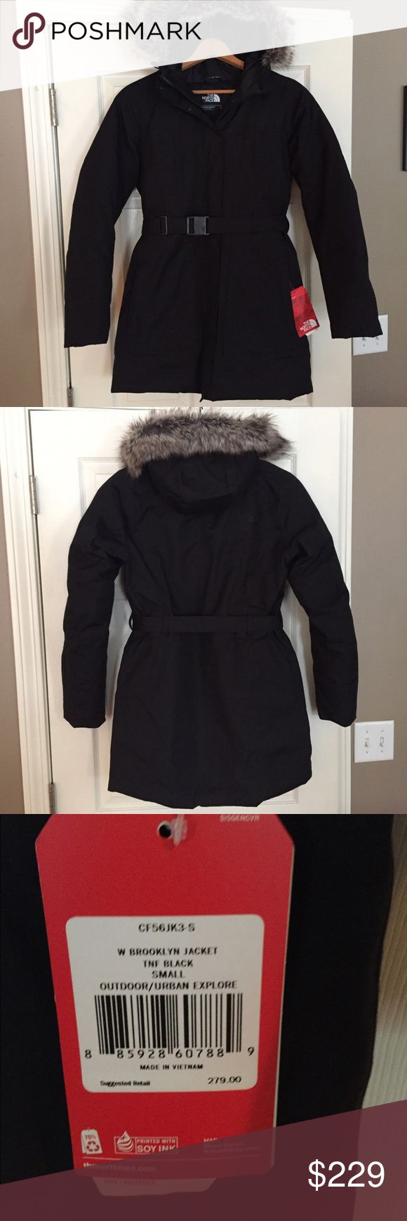 The North Face Brooklyn Jacket Black Parka Small Very stylish and warm!  I've only tried this on a couple of times.  Brand new with tags attached.  Retail: $279 Size Small Note in last photo: The edge of the fabric at the bottom of the zipper just needs to be ironed down, think it was folded up while being shipped.  Nonsmoking household.  Ships same day. The North Face Jackets & Coats Puffers