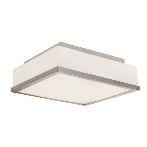 Trans Globe Lighting 10091 2 Light 13 Flush Mount Square Ceiling Fixture with Frosted Shade (Chrome Finish), Silver (Glass)
